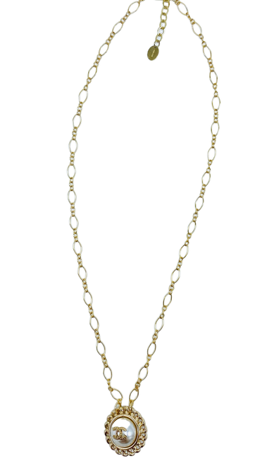 Repurposed Vintage Pearl and Gold Chanel Button on Gold Filled Chain