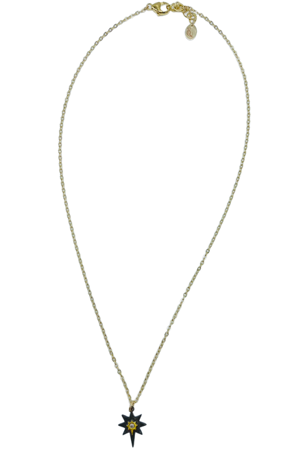 Short Gold Necklace with Diamond Black and Gold Northstar