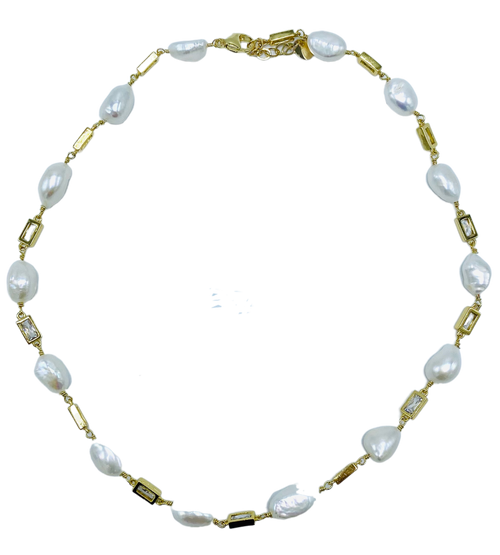 Short Gold and Pearl and Crystal Necklace