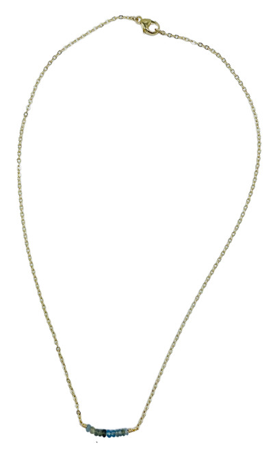 Short Gold Necklace with Aquamarine