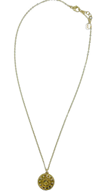 Short Gold Necklace with Gold and CZ Compass Pendant