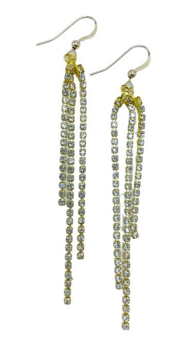 Gold Rhinestone Chandelier Earring