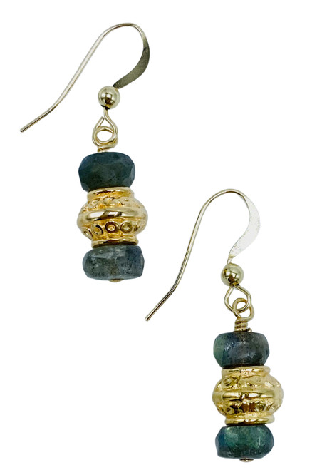 Labradorite and Gold Earring