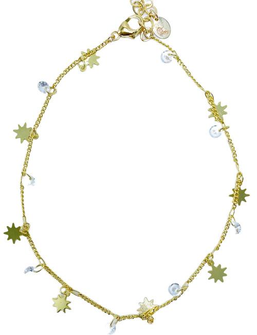 Gold Star 24k Cubic Chain Ankle Bracelet
