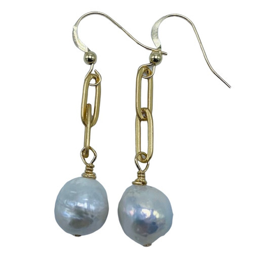 2 Link Gold Paperclip Links with Baroque Pearl