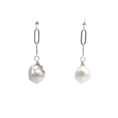 2 Link Silver Paperclip with Baroque Pearl