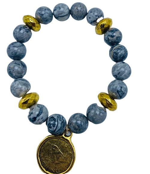 Silver Agate and Gold Coin Charm Stretch Bracelet