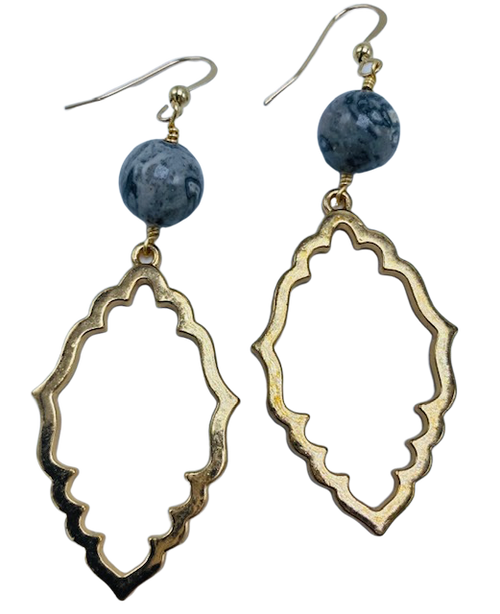 Silver Agate on Gold or Silver Scalloped Drop Earrings