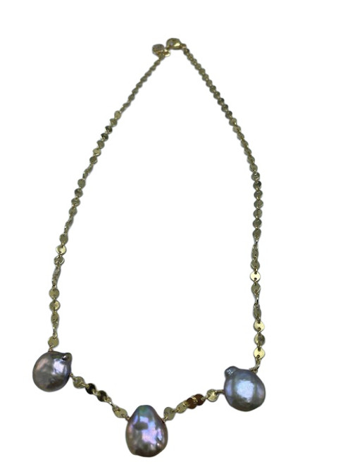 Short Gold Disc Chain with Gold Coin Pearls