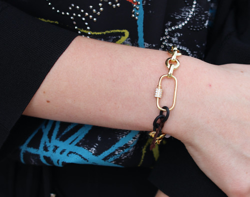Black and Gold Chain Bracelet with CZ and Gold Carabiner Clasp