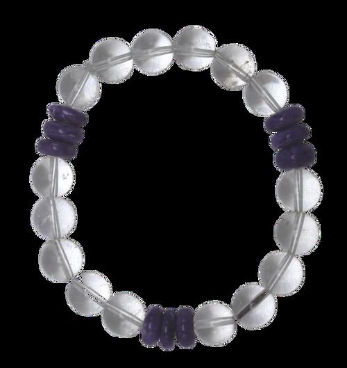 Clear Quartz and Russian Charolite Stretch Bracelet  II