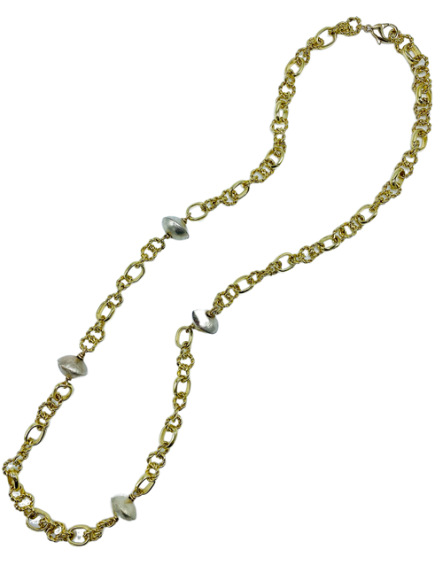 Chunky Gold Chain Long Necklace with African Bead Accents