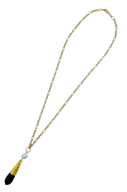 Long Gold Necklace with Pearl and Black Onyx Drop