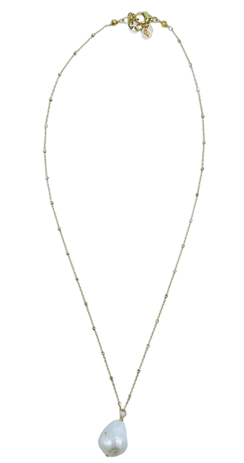 Short Gold Filled and Sterling Silver Cube Chain with Baroque Pearl