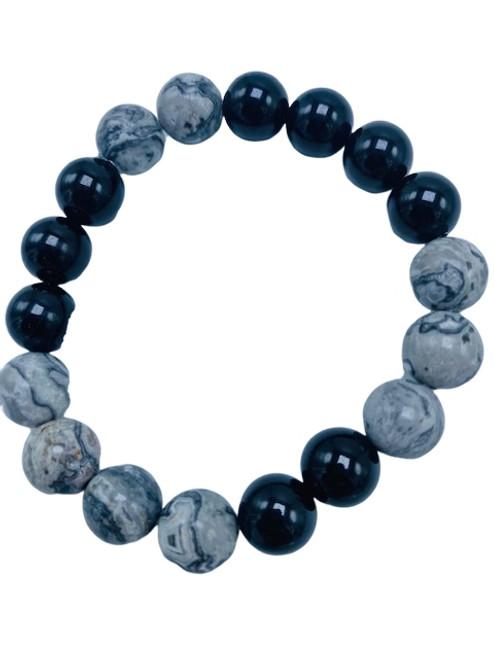 Silver Agate and Black Onyx Stretch Bracelet