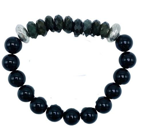 Black Labradorite, Onyx and Silver Stretch Bracelet