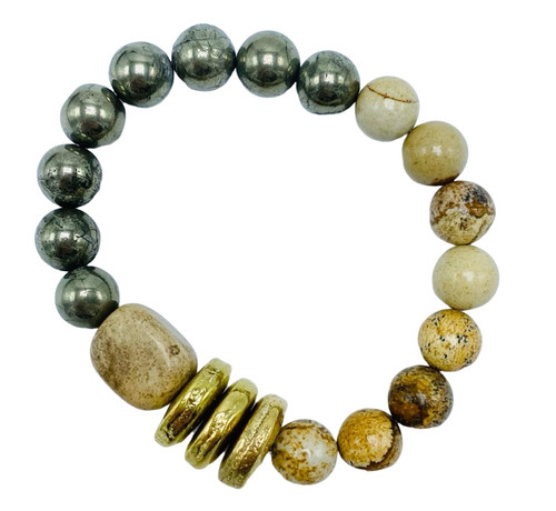 Round Pyrite, Jasper and Gold Discs Stretch Bracelet