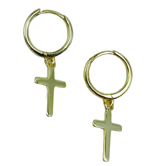 Small Gold Vermeil Hoop with Gold Vermeil Cross Earrings
