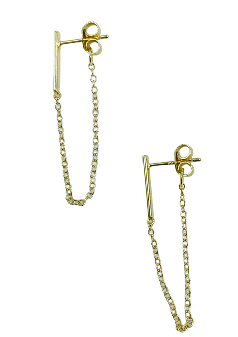 Gold Vermeil Bar with Chain Earrings