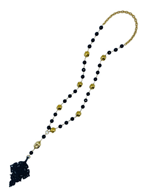 Black Onyx and Gold Beads with Tibetan Cross