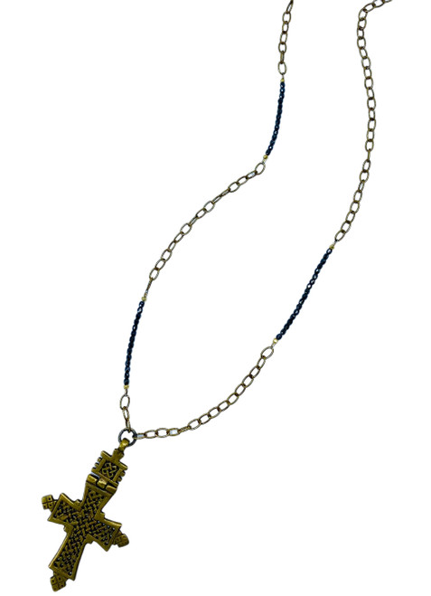 Pyrite and Brass Chain with Tibetan Cross Necklace