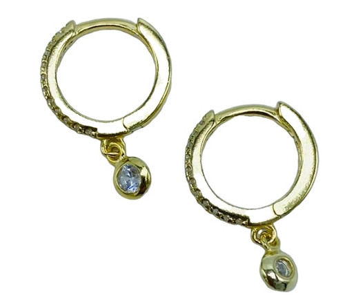Small CZ Gold Hoop with CZ Drop Earring