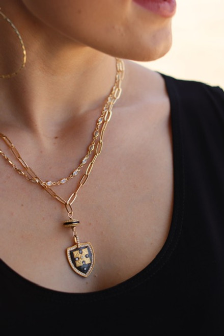 Double Gold Chain Short Necklace with Gold and Black CZ Pendant