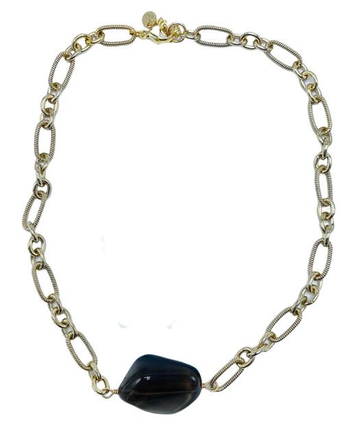 Short Gold Necklace with Smokey Quartz