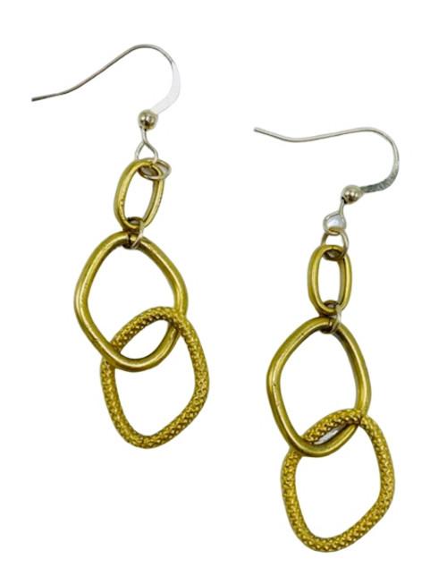 Double Loop Gold Earrings