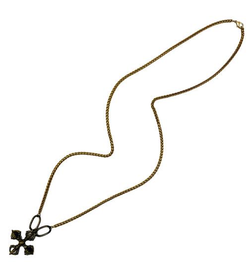 Long Gold and Brass with Brass Tibetan Cross