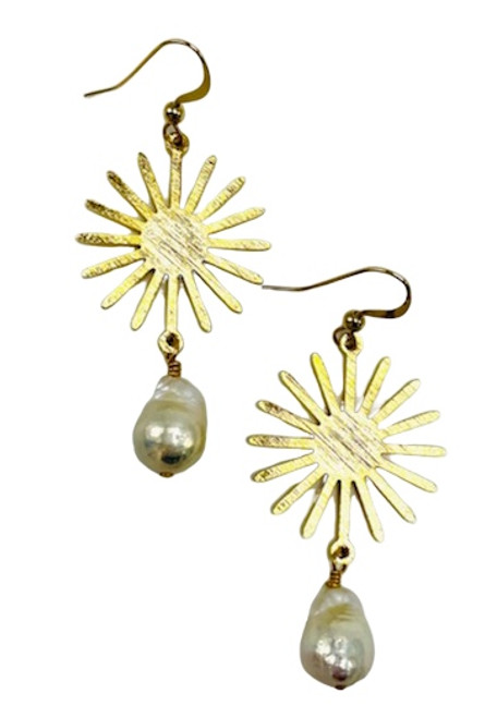 Gold or Silver Starburst with Baroque Pearls
