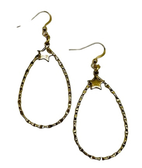 Hammered Gold Hoops with Gold Stars Earrings