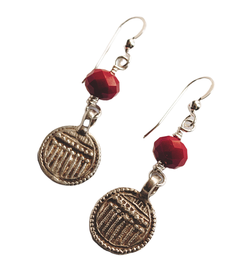 Amulet and Red Crystal Earrings