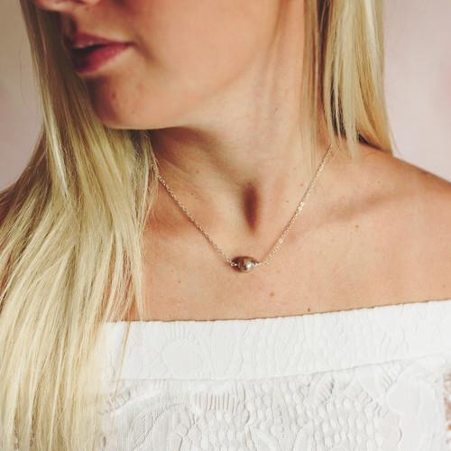 Simple Baroque Pearl Silver Necklace