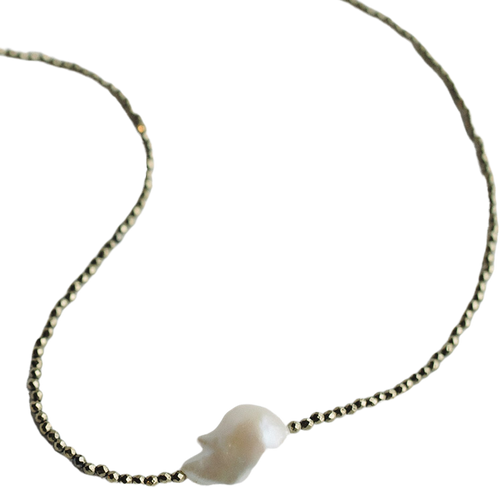 Silver Hematite with White Baroque Pearl Necklace