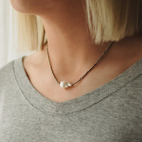 Small Gold Hematite and Baroque Pearl Necklace