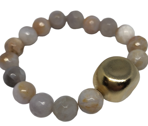 Bamboo Agate and Chanel Bead