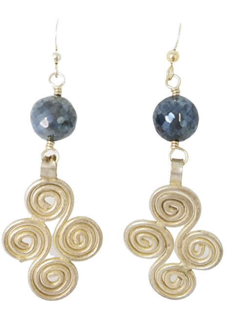 Labradorite and Vintage Silver Earrings