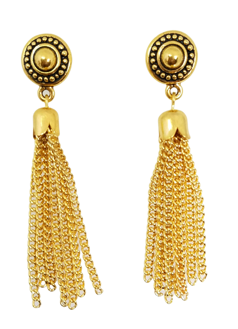Tassel  in Gold and Gold Post Earrings