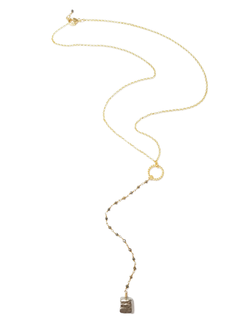 Gold Chain and Pyrite Chain with Pyrite Chunk Necklace
