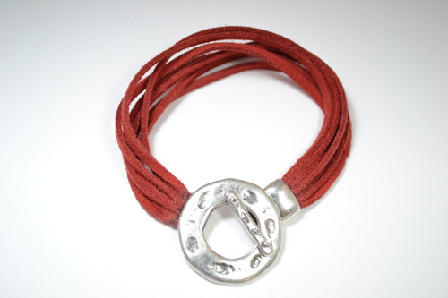 6 Strand Suede Bracelet with Silver Toggle Clasp