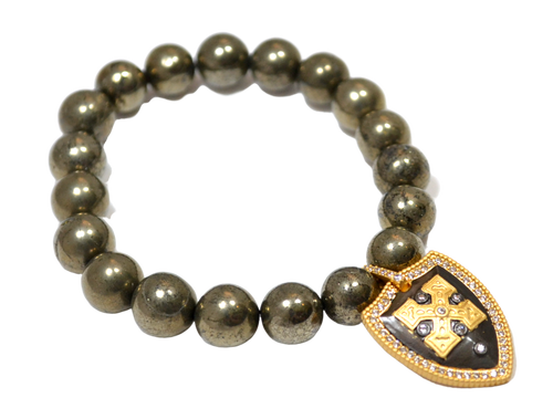 Pyrite Stretch Bracelet with CZ Gold and Gunmetal Shield