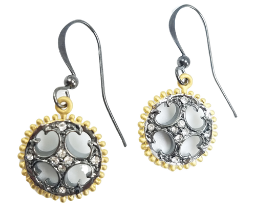 Matte Gold and Gunmetal CZ Earrings