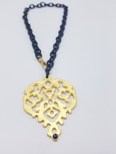 Matte Black and Gold Damask Pendant Necklace