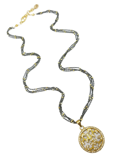 Oxidized Sterling and Vermeil Cube Necklace with CZ Pendant