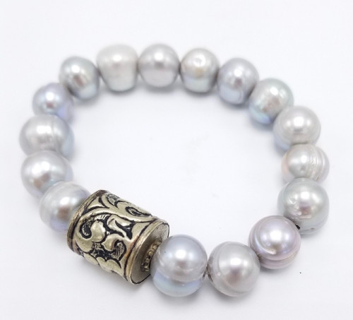 Grey Freshwater and Etched Tibetan Bead Stretch Bracelet