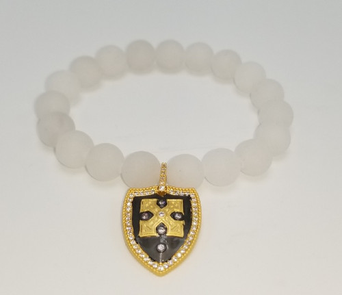 White Jade and Matte Gold CZ Shield Charm Stretch Bracelet