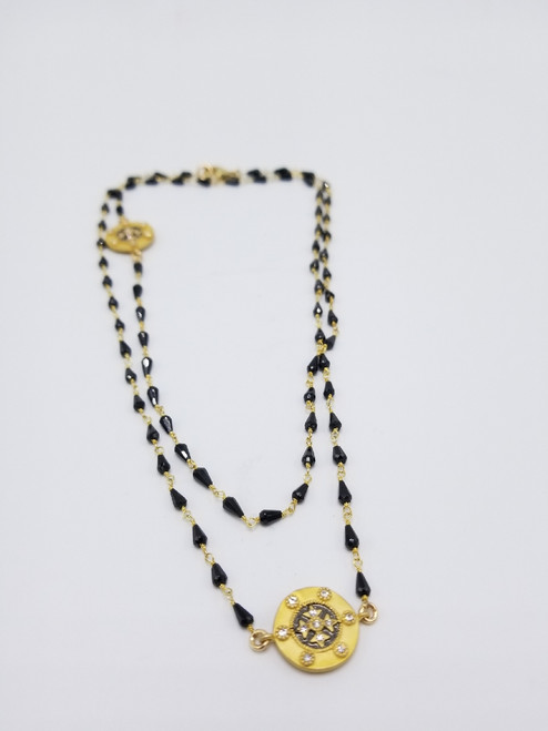Black Onyx Chain and CZ Coins Necklace
