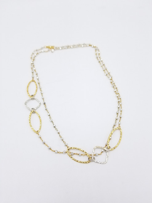 Silver Pyrite Chain with Silver and Gold Links Necklace