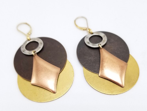 Four Color Brass Earrings
